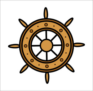 Old Ship Wheel - Vector Illustration