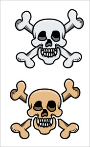 Old Skulls - Vector Cartoon Illustration