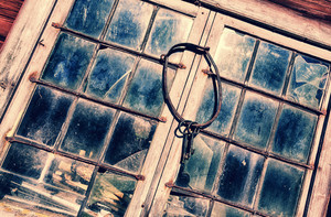 old stained glass in leaded window