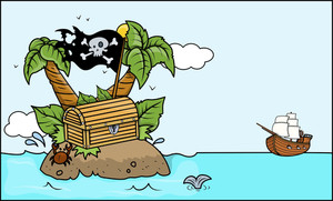 Old Tropical Treasure Island - Vector Cartoon Illustration