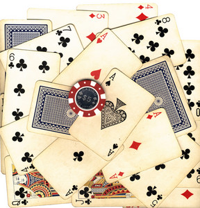 Old Vintage Cards And Gambling Chip (with Clipping Path)