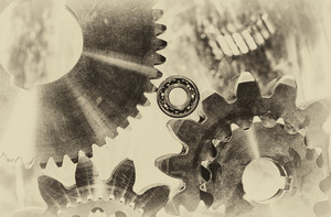 old vintage cogwheels and gears