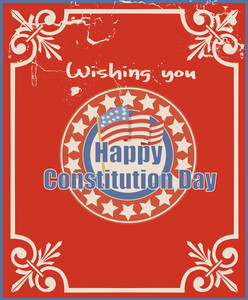 Old Vintage Greeting Card Background  Constitution Day Vector Illustration
