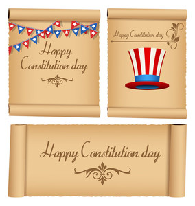 Old Vintage Scroll Constitution Day Vector Illustration