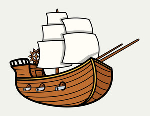 Old Vintage Sea Ship - Vector Cartoon Illustration