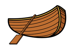 Old Vintage Wooden Boat - Vector Cartoon Illustration