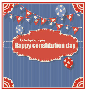 Old Wishing You Happy Constitution Day Greeting Background Vector