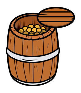 Old Wood Barrel Filled With Gold Coins - Vector Cartoon Illustration