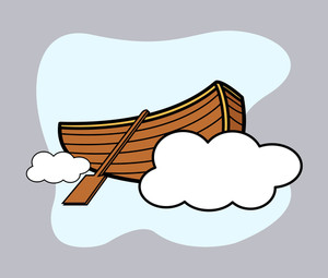 Old Wooden Boat Floating Over Cloud - Vector Cartoon Illustration