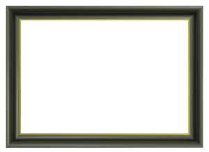 Olive Color Picture Frame Isolated On White Background.