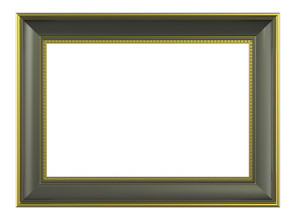 Olive-gold Color Horizontal Picture Frame Isolated On White Background.