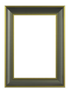 Olive-gold Color Vertical Picture Frame Isolated On White Background.