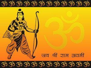 Om Background With God Rama Holding Arrow And Bow