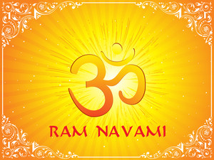 Om With Rays Background
