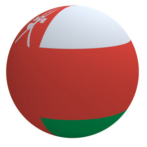 Oman Flag On The Ball Isolated On White.