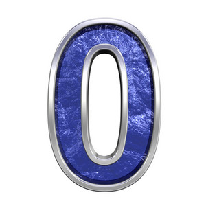 One Digit From Blue Glass Cast Alphabet Set
