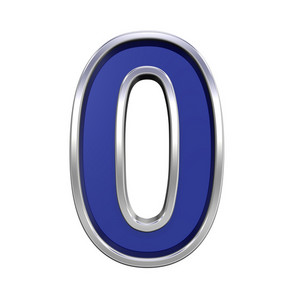 One Digit From Blue Glass With Chrome Frame Alphabet Set