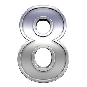 One Digit From Chrome With Frame Alphabet Set