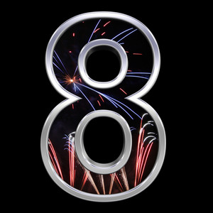 One Digit From Firework With Chrome Frame Alphabet Set