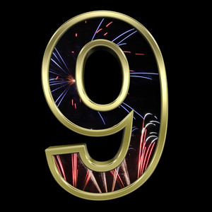 One Digit From Firework With Gold Frame Alphabet Set
