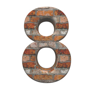 One Digit From Old Brick Alphabet Set