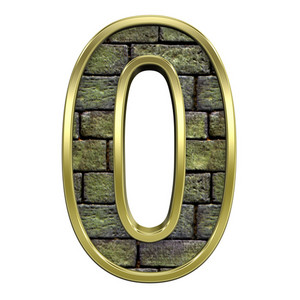 One Digit From Old Stone With Gold Frame Alphabet Set