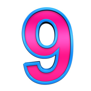 One Digit From Pink With Blue Frame Alphabet Set, Isolated On White