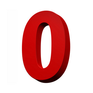 One Digit From Red Alphabet Set, Isolated On White
