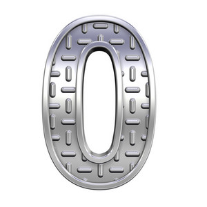 One Digit From Steel Tread Plate Alphabet Set