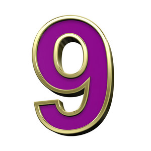 One Digit From Violet With Gold Shiny Frame Alphabet Set