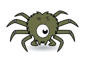 One Eye Funny Spider Cartoon Vector