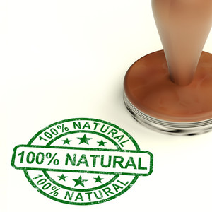 One Hundred Percent Natural Stamp Shows Pure Genuine Product