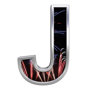 One Letter From Firework With Chrome Frame Alphabet Set