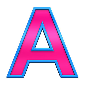 One Letter From Pink With Blue Frame Alphabet Set, Isolated On White