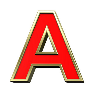 One Letter From Red With Gold Shiny Frame Alphabet Set