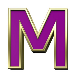 One Letter From Violet With Gold Shiny Frame Alphabet Set