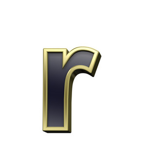 One Lower Case Letter From Black With Gold Alphabet Set