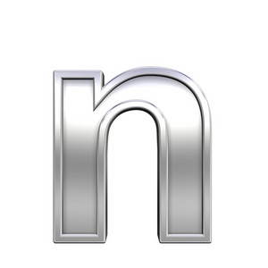 One Lower Case Letter From Chrome With Frame Alphabet Set
