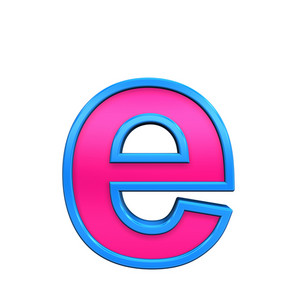 One Lower Case Letter From Pink With Blue Frame Alphabet Set, Isolated On White