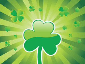 One Shamrock With Beautiful Rays Background 17 March