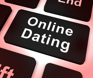 Online Dating Computer Key Showing Romance And Web Love