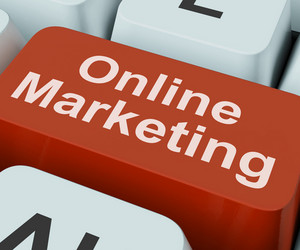 Online Marketing Key Shows Web Emarketing And Sales