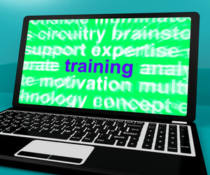 Online Training Computer Message Shows Web Learning