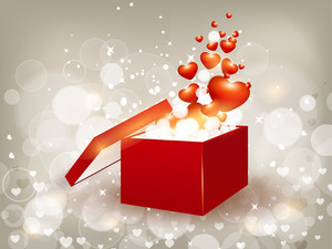 Open 3d Gift Box With Flying Little Shine Hearts.