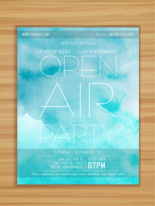 Open Air Party celebration flyer banner or template in grungy sky blue colors on wooden background.