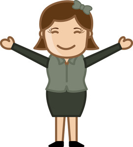 Open Arms Girl - Business Cartoon Character Vector