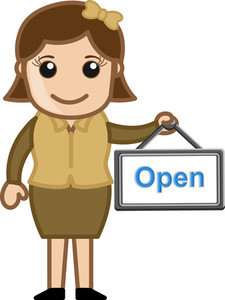 Open Board In A Retro Lady Hand - Business Cartoons Vectors