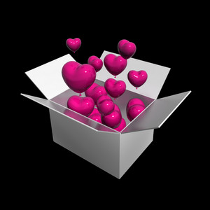 Open Box With Floating Hearts Balloons