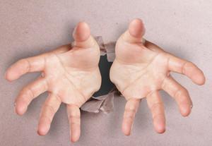 Open Hands Breaking Through Textured