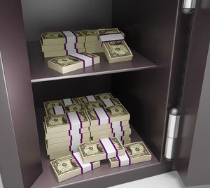 Open Safe With Money Showing Bank Accounts